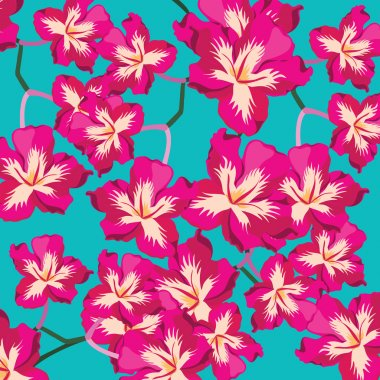 Floral pattern with beautiful flowers, hand-drawing.