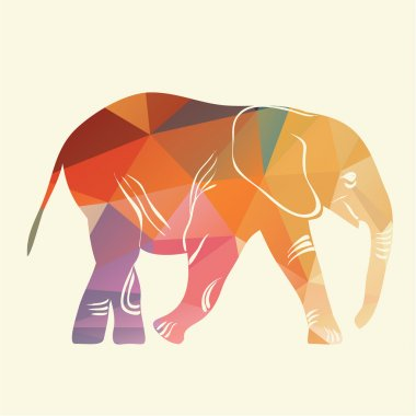 Cartoon elephant. The silhouette of the elephant collected from