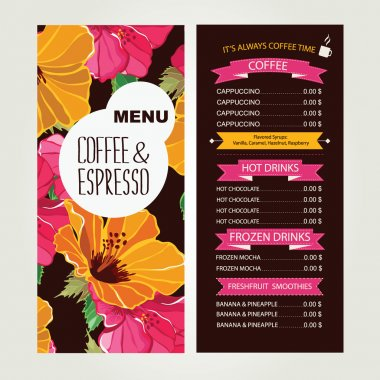 Cafe menu, template design. Vector illustration.
