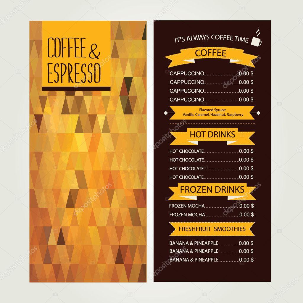 café menú, diseño de plantillas. ilustración vectorial — Archivo ...