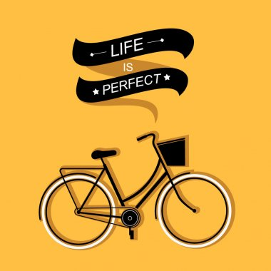 Summer poster with bicycle.Typography.Vector illustration.