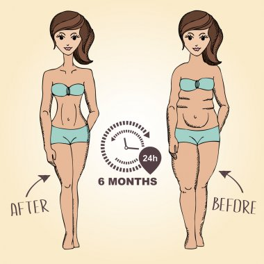 Before and after, fat girl and slim girl. Vector illustration.