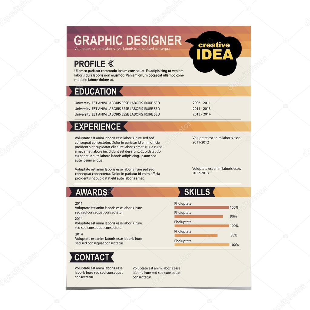 Resume Template Cv Creative Background  Stock Vector  Marchi