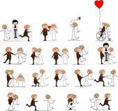 sada svatební fotografie, nevěsta a ženich v lásce, vektor