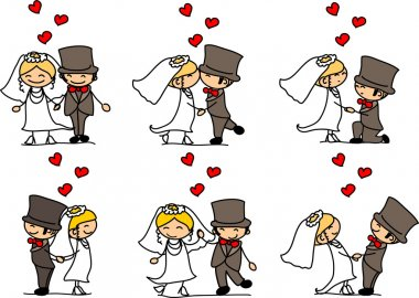 Set cartoon characters weddings