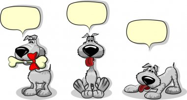 Cute cartoon dog and a speaking bubble