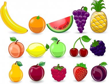 Cartoon orange, banana, apples, strawberry, pear, cherry, peach, plum, lemon, grapes, watermelon, raspberry ,pineapple