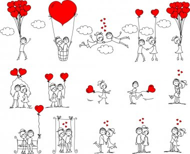 Valentine doodle boy and girl, vector