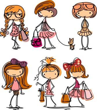 Cartoon fashionable girls