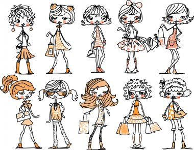Set of characters fashionable girls