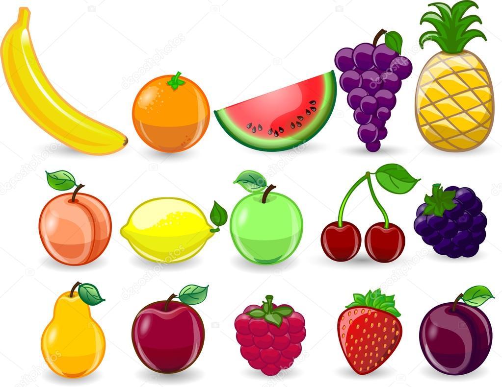 Cartoon orange, banana, apples, strawberry, pear, cherry, peach, plum, lemon, grapes, watermelon, raspberry ,pineapple
