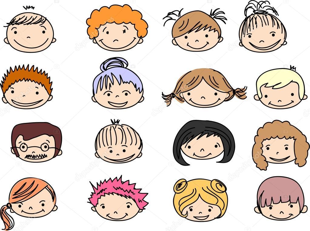 Para Niños De Dibujos Animados Caras Diferentes: Dibujos Animados De Caras De Niños