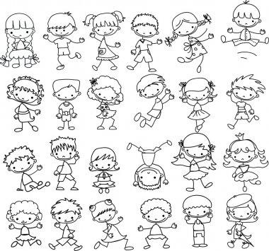 Cartoon drawings of fashionable children