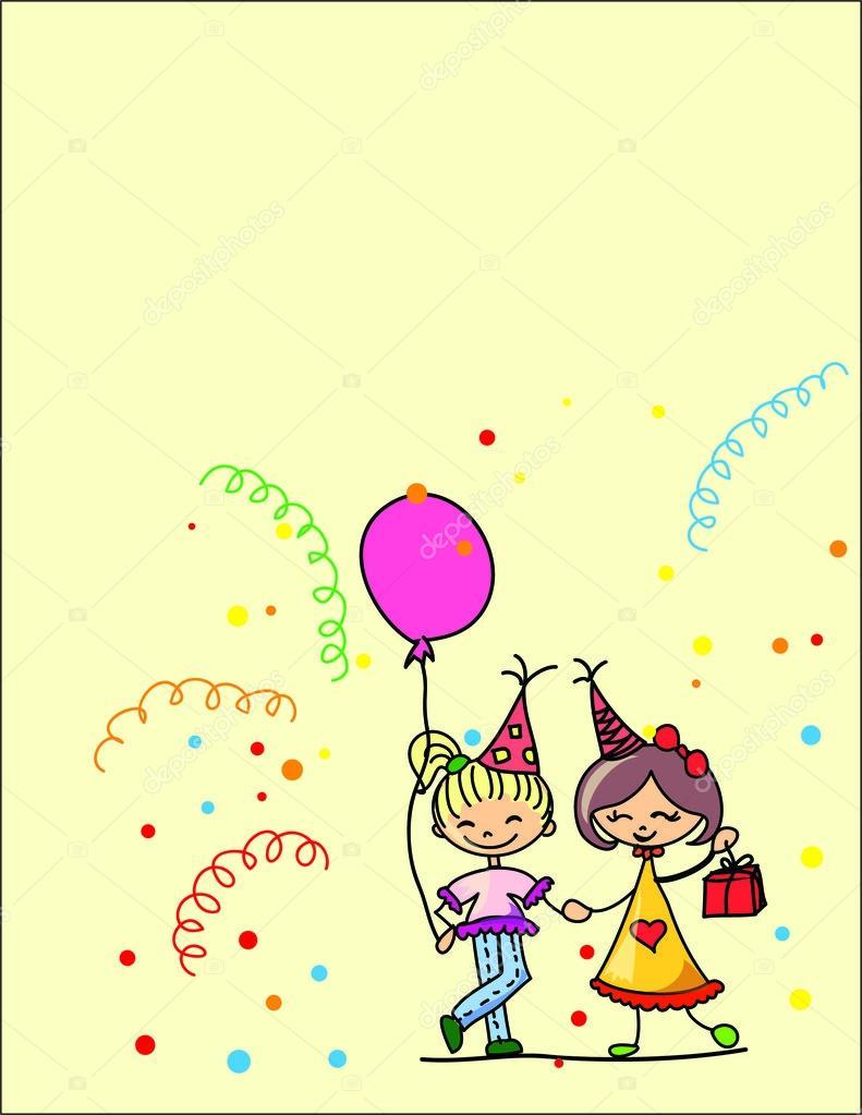 fira en födelsedag tecknad barn fira födelsedag — Stock Vektor © virinaflora #13828319 fira en födelsedag