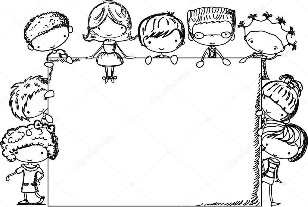 Cute children, frame, vector — Stock Vector © virinaflora #13828335