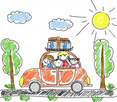 Happy family going on holiday by car