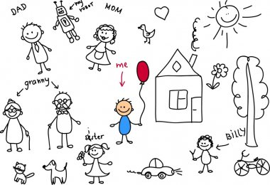 Happy family, children's drawing, the vector