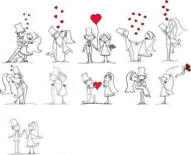 Set of wedding pictures, bride and groom in love, the vector clip art vector