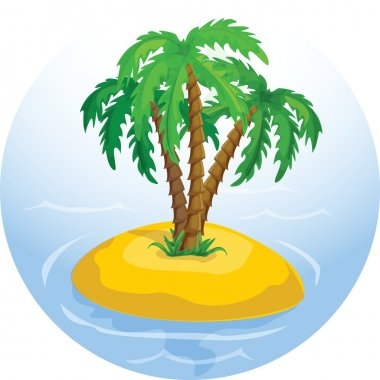 Vector tropical palm trees in the ocean
