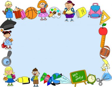 Cute schoolboys and schoolgirls, School elements, the frame