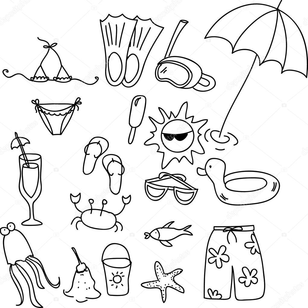 strand pictogrammenset kinderen tekenen stockvector