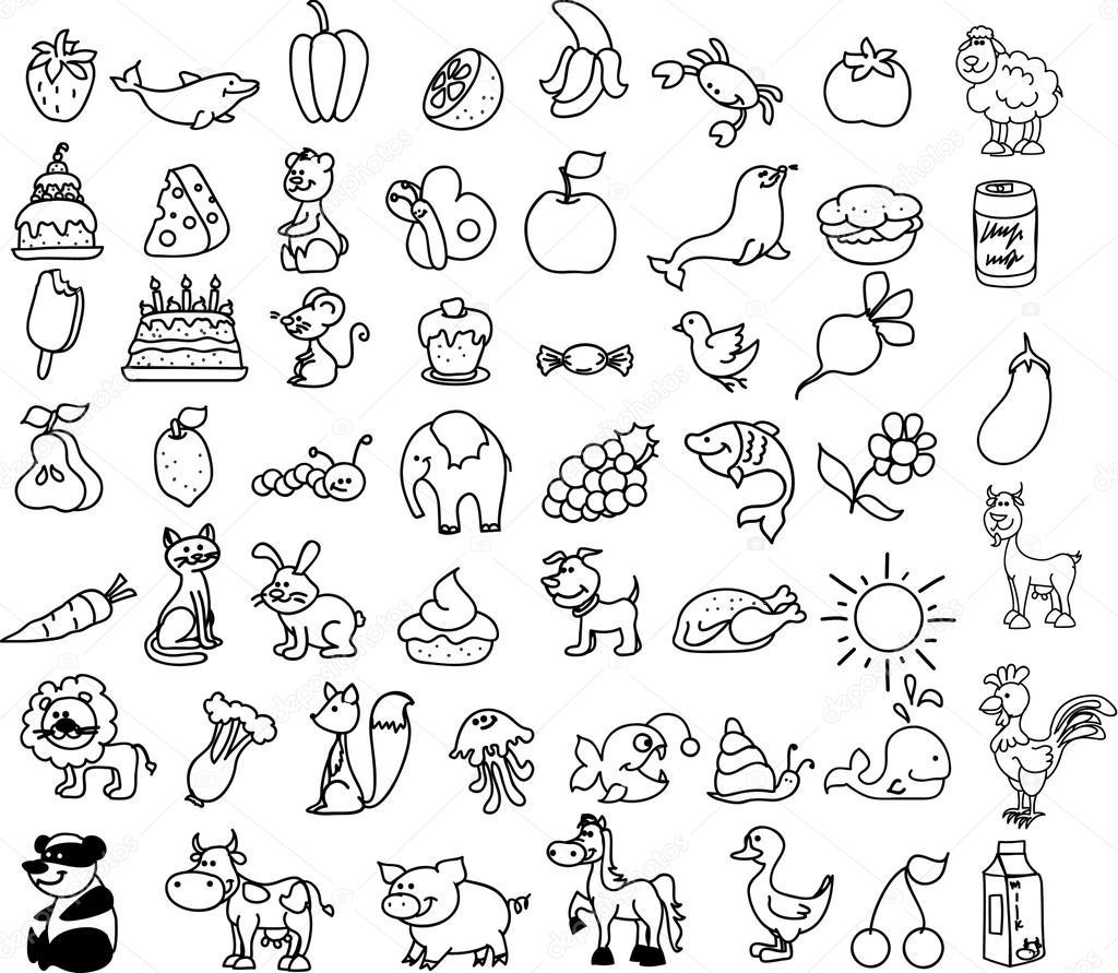 iconos de dibujos animados de animales alimentos — vector