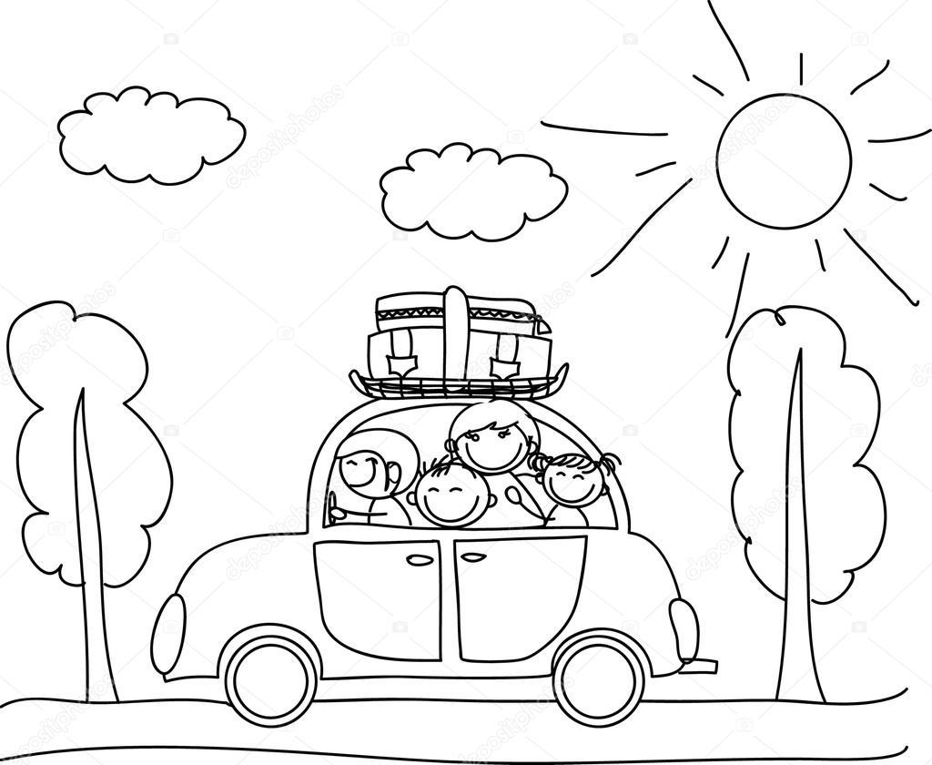 Familia feliz va de vacaciones por colorear coche blanco - Familias en blanco y negro ...