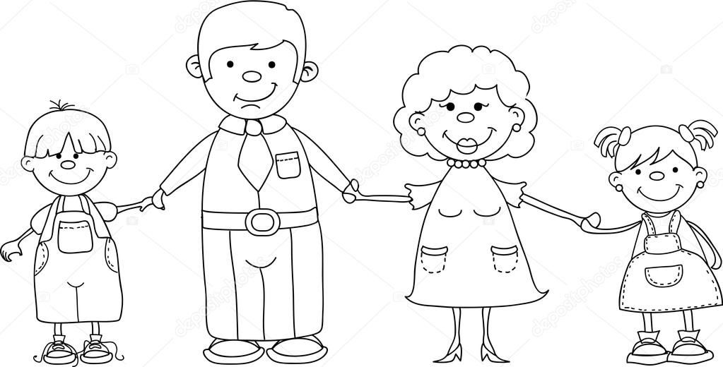 Happy Family Holding Hands Hand Drawing Isolated On White Background U2014 Stock Vector ...