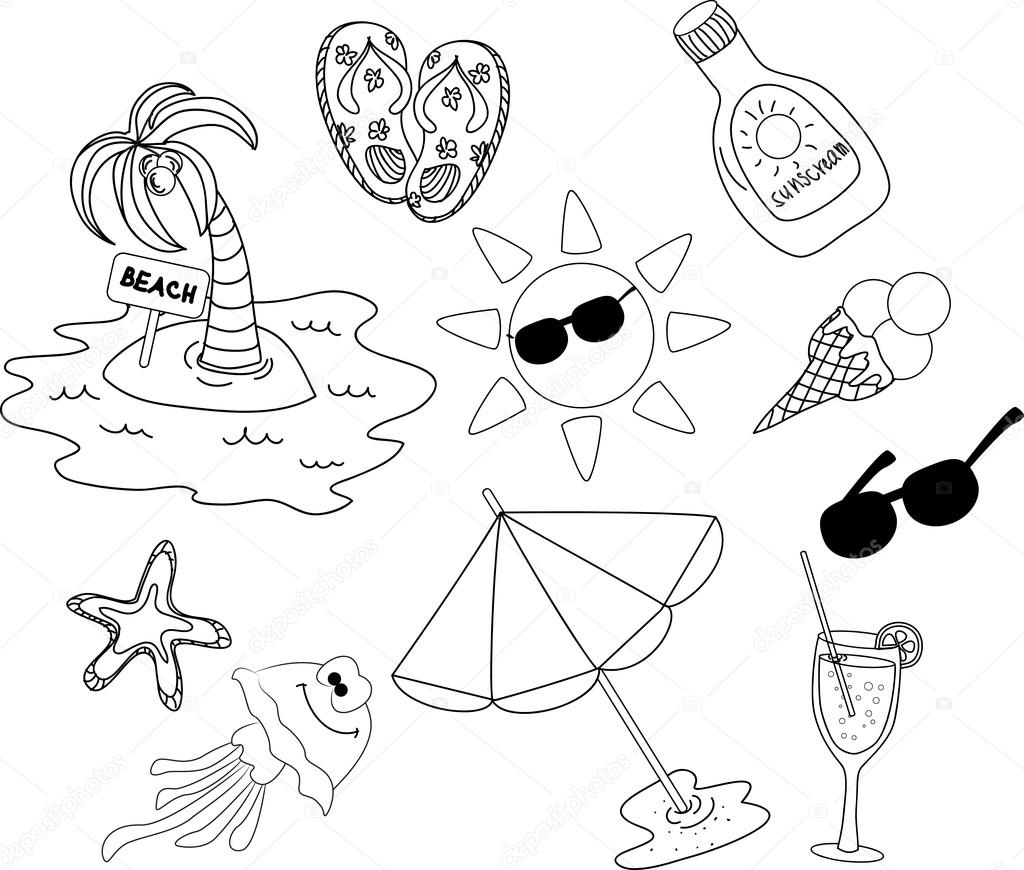 icono de playa set, blanco y negro para colorear — Vector de stock ...