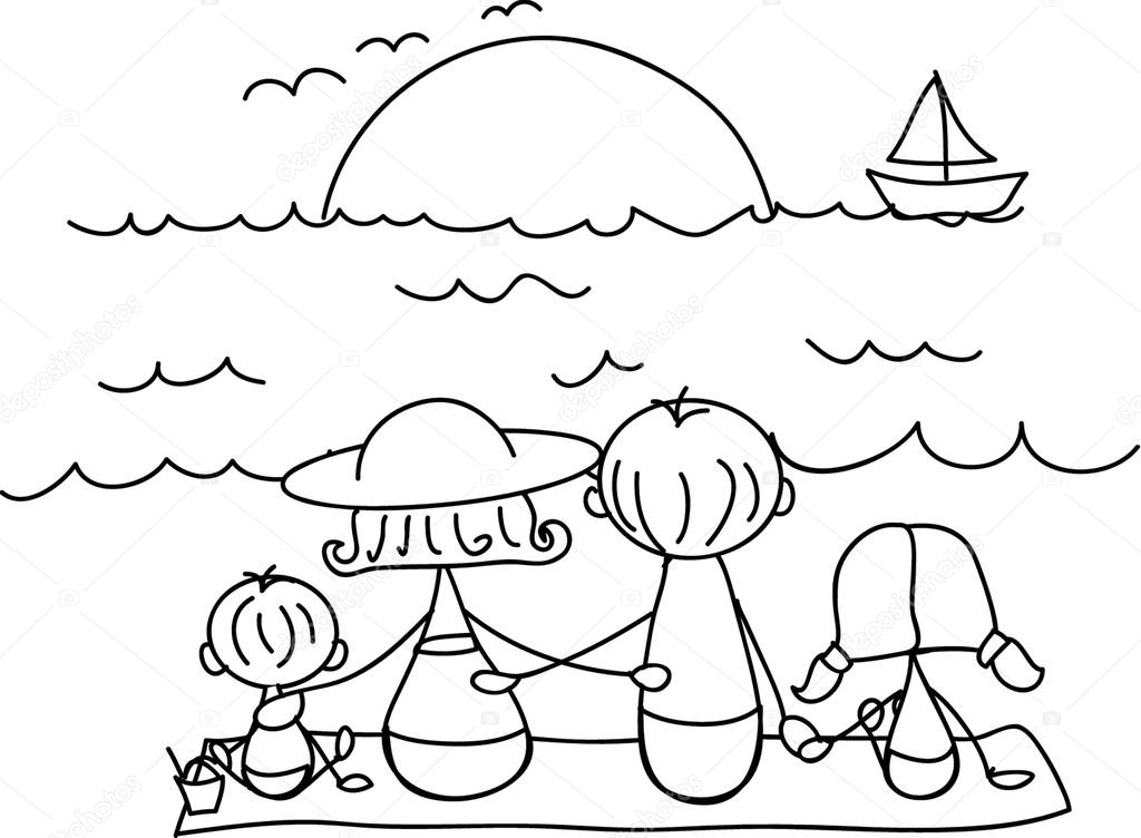 семья на море картинки карандашом нальчике