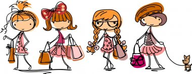 Cartoon cute girl fashionista stock vector