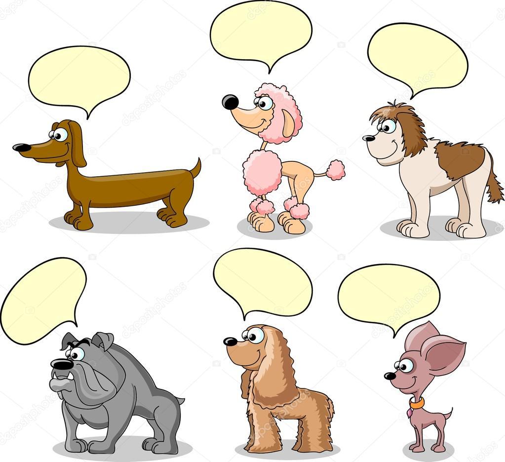 Impostare dei cartoni animati di cani razze diverse