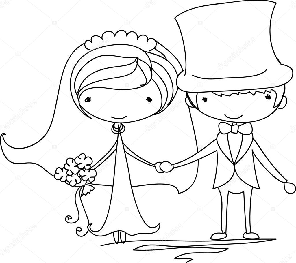 Открытка на свадьбу карандашом