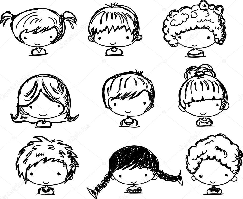 Rostros De Niños Animados: Dibujos Animados De Caras De Niños