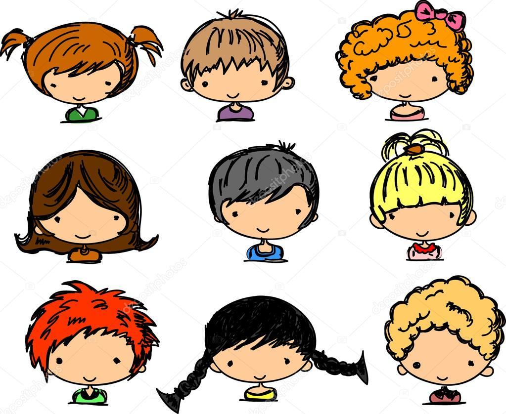 cartoon faces of children stock vector