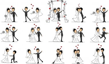 Set of wedding pictures, bride and groom in love, the vector stock vector