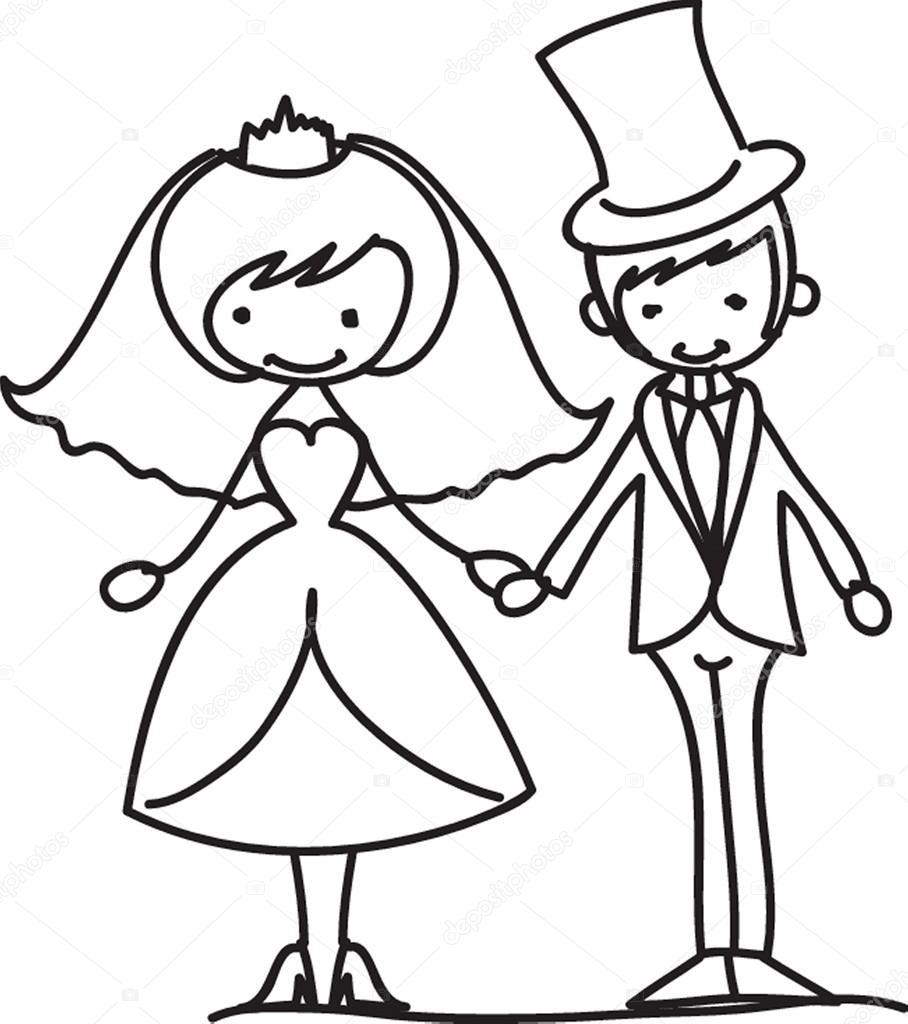 novio y la novia de boda de dibujos animados — Vector de stock ...