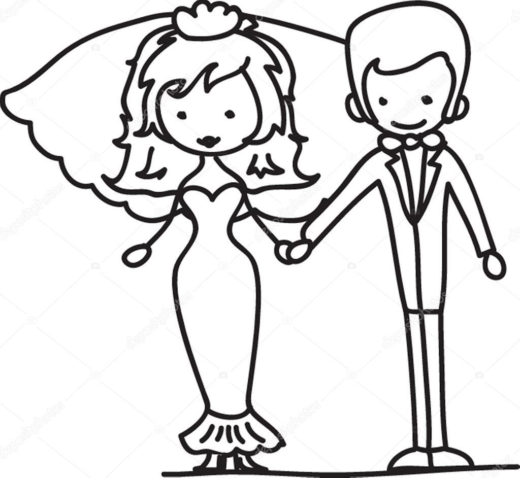 Bruiloft Cartoon Bruid En Bruidegom Stockvector