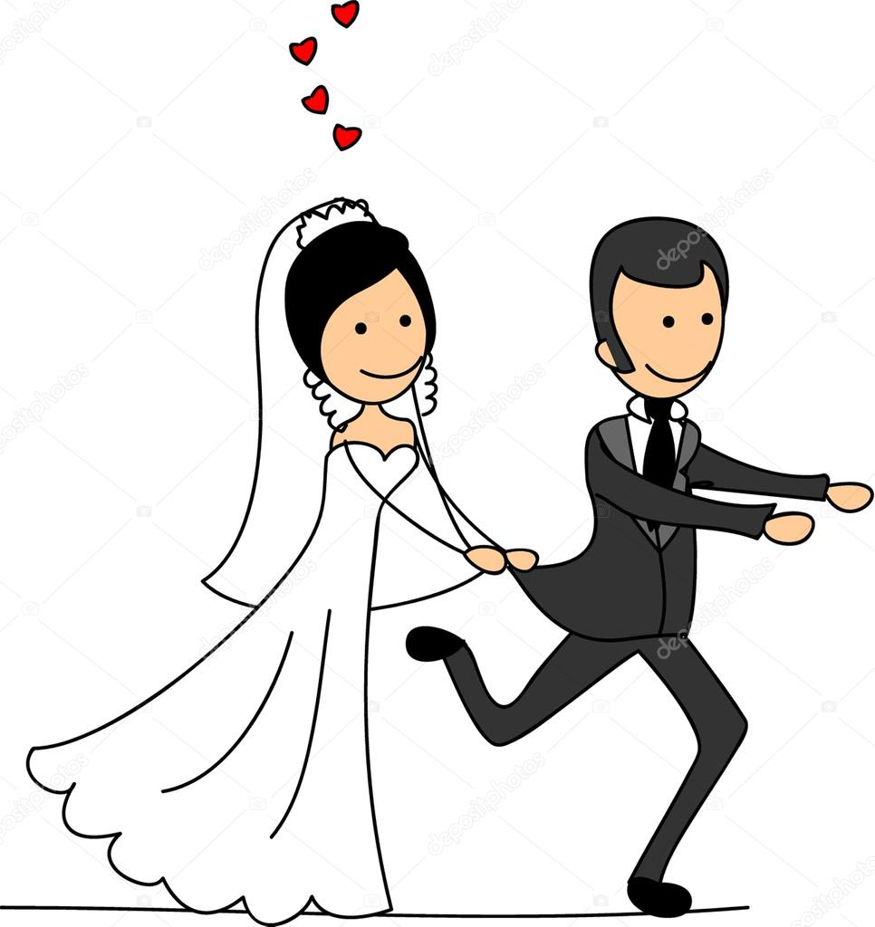 Wedding Cartoon Bride And Groom