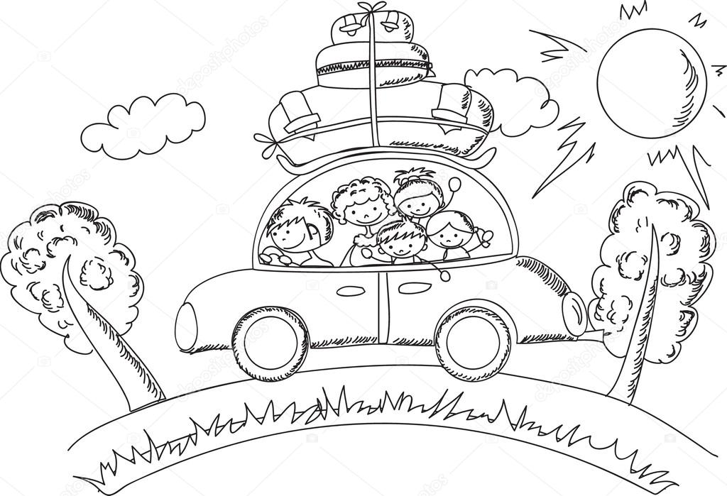 Vector Feliz Viaje Familia: Familia Feliz Va De Vacaciones En Coche