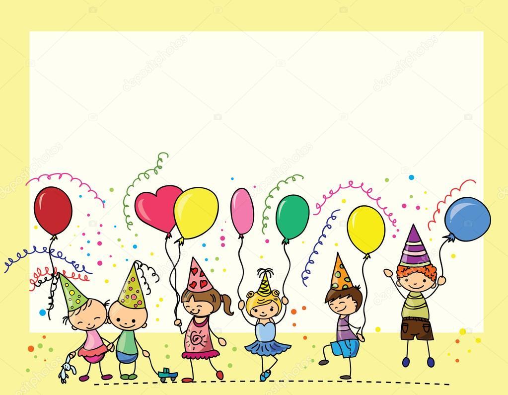 gratulationskort barn barn hålla ballonger, gratulationskort, vektor — Stock Vektor  gratulationskort barn