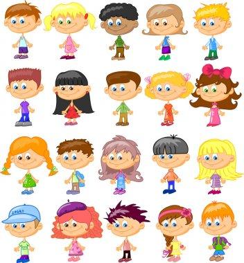 Set cartoon children, pupils