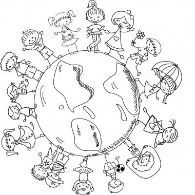 Cute children holding hands around the globe, black and white cartoon picture