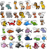 Photo Big set of cartoon animals, vector