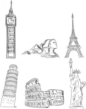 Architectural monuments, Leaning Tower of Pisa, the Eiffel Tower, Big Ben, the Colosseum, the pyramids, the Statue of Liberty