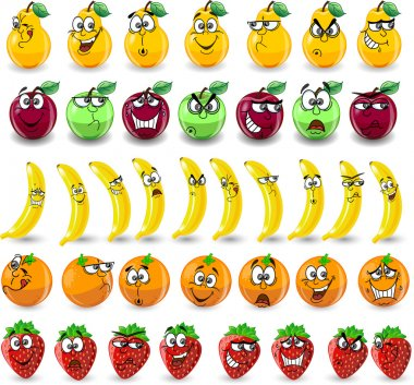 Cartoon oranges, bananas, apples, strawberries,pears with emotions