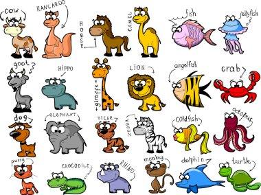 Big set of cartoon animals
