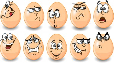 Cartoon easter eggs, happy easter