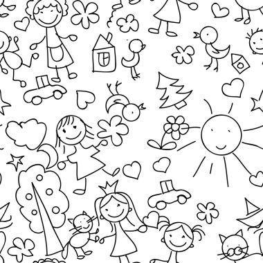 Kids drawing seamless pattern