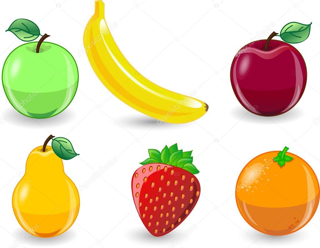 Dibujos Animados De Naranja, Plátano, Manzana, Fresa